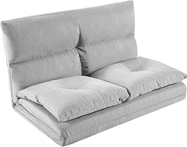 MIERES Adjustable Floor Couch And Sofa For Living Room And Bedroom Foldable With 5 Reclining Position Love Seat Gray Gary