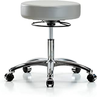 Adjustable Stool for Exam Rooms, Labs, and Dentists with Wheels - Chrome, Desk Height, Dove