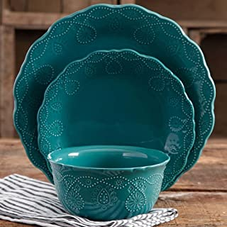 The Pioneer Woman Cowgirl Lace 12-Piece Dinnerware Set (Teal)