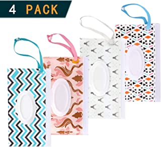 4 Pack Reusable Wet Wipe Pouch - Dispenser for Baby or Personal Wipes,Wet Wipe Portable Travel Cases (4PACK-AA)