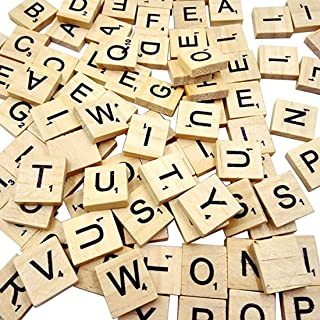 100 Wooden Scrabble Tiles Alphabet, DELFINO Scrabble Pieces for Word Scrabble Game Board of Education Games Craft Letters ...