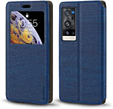 Vivo X60 Pro+ V2056A Case, Wood Grain Leather Case with Card Holder and Window, Magnetic Flip Cover for Vivo X60 Pro Plus