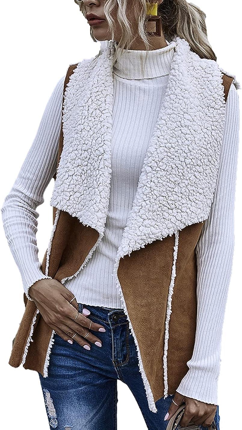 Bnigung Women's Faux Suede Shearling Lined Reversible Open Front Sleeveless Lapel Gilet Vest