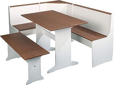 Inter Link Table de Salle à Manger 110 x 70 cm en pin Massif Blanc sépia Marron laqué, 110 x 70 x 75 cm