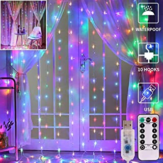 Meliven 300 LED Curtain Lights 9.8Ftx9.8Ft, 8 Lighting Modes Multicolor Window Curtain String Lights with Remote USB Power...