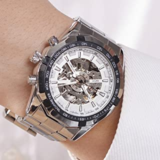 Luxury Men Steampunk Skeleton Stainless Steel Automatic Mechanical Wrist Watch (White)