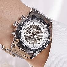 Luxury Men Steampunk Skeleton Stainless Steel Automatic Mechanical Wrist Watch (White)