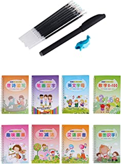 8Pcs 2020 New Upgrade Magic Calligraphy Copybook That Can Be Reused With Pen, Groove Practice Writing Paste, Handwriting C...