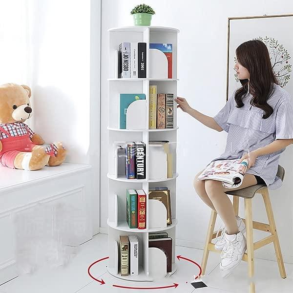 JX BOOS Bookshelf Creative 360 Rotating Bookcase Simple Disassembly Bookshelves Simple Student Landing Rack White 46x46x158cm 18x18x62