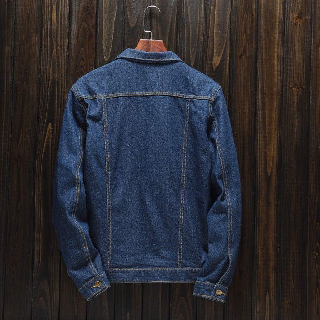 XUETON Mens Classic Denim Jacket Turn-down Collar Solid Long Sleeve Jackets Fashion Button Down jean Coats
