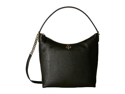 Tory Burch Kira Mixed-Materials Hobo (Black) Handbags
