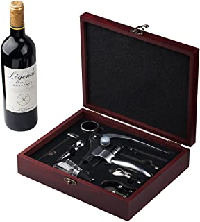 Cooko Wine Opener Set, Manual Wine Bottle Opener Kit with Aerator, Pourer, Zinc Alloy Handle Corkscrew, Deluxe Wine Accessories Gift with 9 Pieces