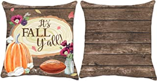 It's Fall Yall Rustic Pumpkin Decorative Throw Pillow Covers 18x18 Inch, ZUEXT Set of 2 Double Side Print Soft Cotton Linen Square Cushion Pillowcases for Halloween Thanksgiving Day Harvest Home Decor