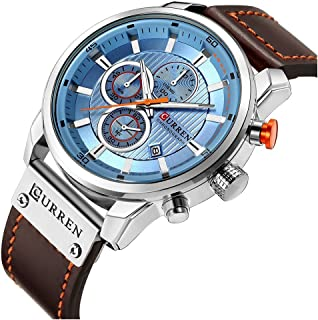 Men Chronograph Sport Watches Brown Leather Strap Quartz Watch Business Casual Wrist Watch for Men