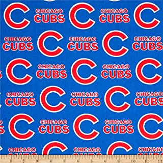 Fabric Traditions MLB Cotton Broadcloth Chicago Cubs Blue/Red Fabric By The Yard