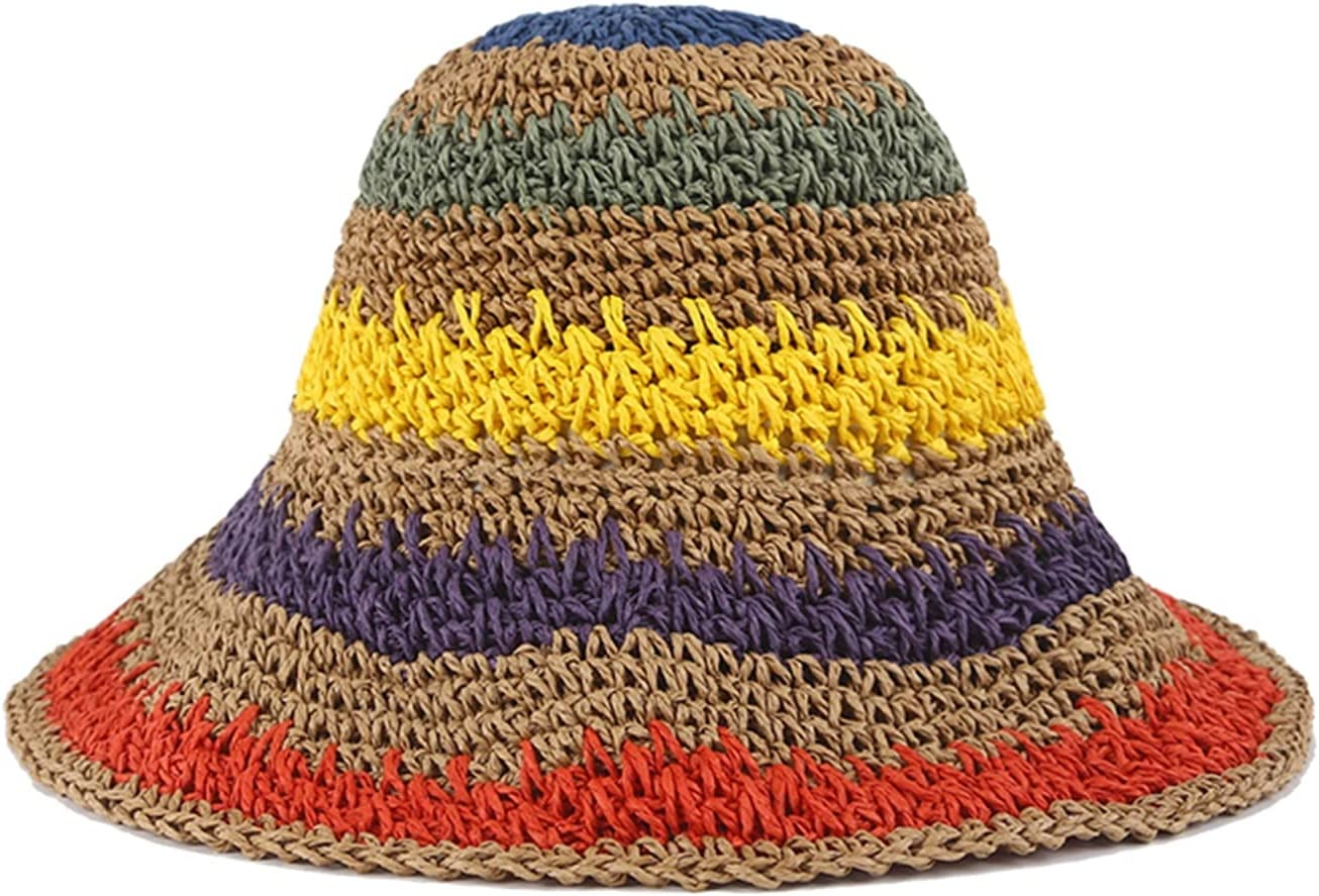 MAIZ Sun Outlet sale feature Hats Summer Travel Shade Hat Los Angeles Mall Floppy Straw Rainbow Color