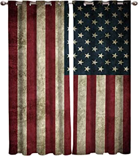 T&H Home American Flag Curtains, Blackout Curtain Silver Grommet Retro Stars and Stripes USA Flag Patterned Fabric 2 Panels Set, Darkening Draperies & Curtains for Living Room 54