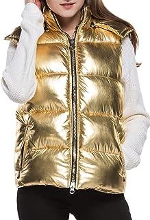 gold metallic puffer vest