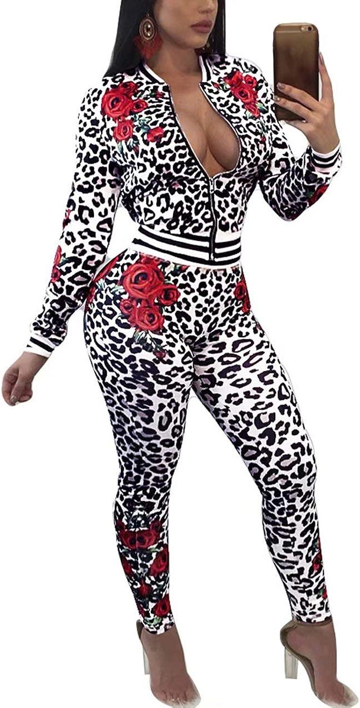Floral Tracksuit Sets for Women Casual Jackets Pants Joggers Sportwear Leopard L