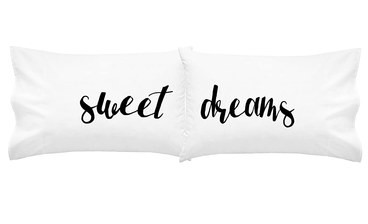 Oh, Susannah Sweet Dreams Font 2 Couples Pillow Cases (2 20x30 Inch Standard/Queen Size Pillowcases) Guest Room Decor Rommate Gifts