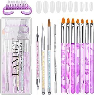 Kit de diseño de uñas con 7 pinceles de arte de uñas, Kolinsky Sable cepillo para polvo y herramienta de punteado para uña...