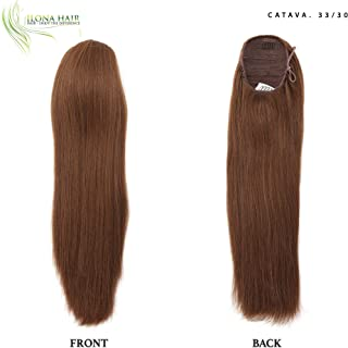 Long auburn brown ponytail hair extension hairpiece straight drawstring for woman cheerleading prom party wedding synthetic hair