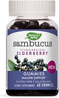 Nature's Way Sambucus Elderberry Gummies with Vitamin C and Zinc, Gluten Free, 40 Gummies