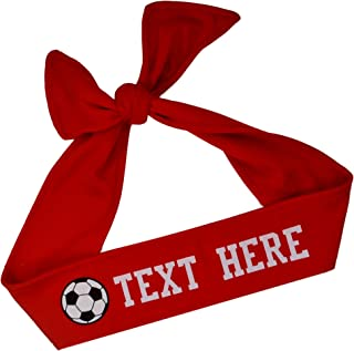 Funny Girl Designs Soccer TIE Back Moisture Wicking Headband Personalized Your Way with Vinyl Text and Soccer Ball