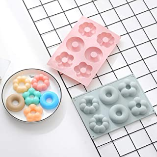 Food Grade Silicone Bake Molds, Various Styles Shape Moulds for Ice Cube Chocolate Cookie Cake Baking DIY (2 Pcs, Donuts M...
