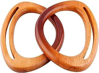 2 pièces Poignée de Sac à Main en Forme de D Anses pour Sac à Mains Poignée de Sac en Bambou et Bois pour Fabrication de S...