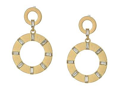 SOLE / SOCIETY Double Drop Earrings (12K Soft Polish Gold/Crystal) Earring
