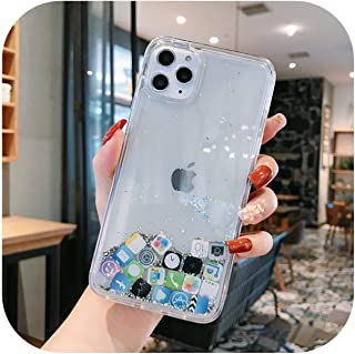 折慢boringFor iPhone 12 11 Pro Max 7 8 Plus X XRXSリキッドフォンシェル用For SamsungA51 A71S20ケースダイナミッククイックサンドかわいいアプリアイコンケース-Silver-For ...