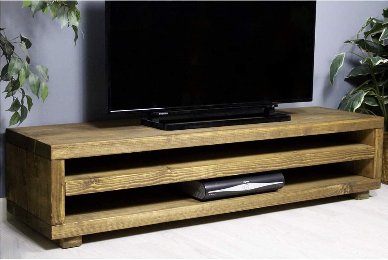 Solid Rustic Handmade Pine Widescreen Kingston Tv Unit Amazon Co Uk Electronics