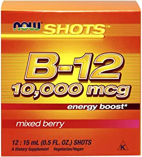 NOW Foods B-12 10,000mcg Shots 0.5 ounce 12 Count Box Mixed Berry
