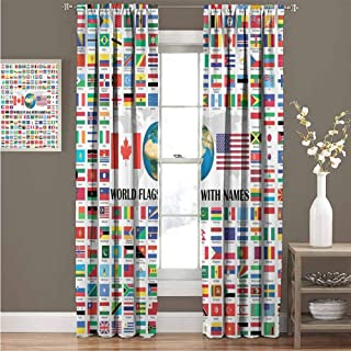 Curtains for Living Room, Thermal Insulated Blackout Curtains, World Country, Names American USA Canada Flag Globe Earth Educational Traveler Geographic, 108