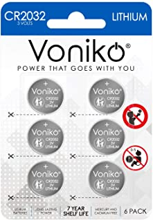 VONIKO 3 Volt CR2032 Battery 6 Pack – Lithium Batteries – 2032 Button Battery Flat – 7 Years Shelf Life