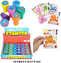 Kids Party Supply Set. 48 Piece Set of Make-Your-Own Sea Sticker Sheets (24) and Sea Creature Stampers (24). Great for Parties, School, or Craft Time! Let Your Kids get Creative! by BooBooLaLa