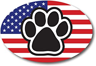 American Flag Oval with Paw Print Car Magnet 4x6 Heavy Duty Waterproof