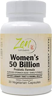 Zen Supplements - Womens 50 Billion Probiotic Formula - Supports Urinary and Vaginal Health with Lactobacilli & Bifado Ble...