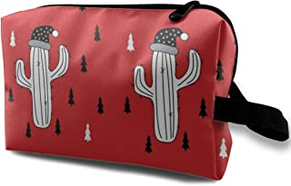 Christmas cactus red Travel Makeup Cute Cosmetic Case Organizer Portable Storage Bag for Women