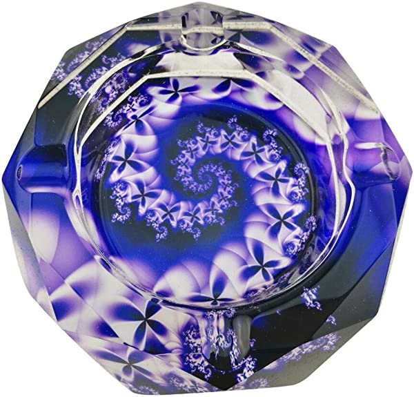 Beautiful Colorful Transparent Octangle Shape Diameter 3 9 Cigar Cigarette Crystal Glass Ashtrays With 4 Grooves Home Office Tabletop Desk Decoration Father S Day Gift Purple Flowers