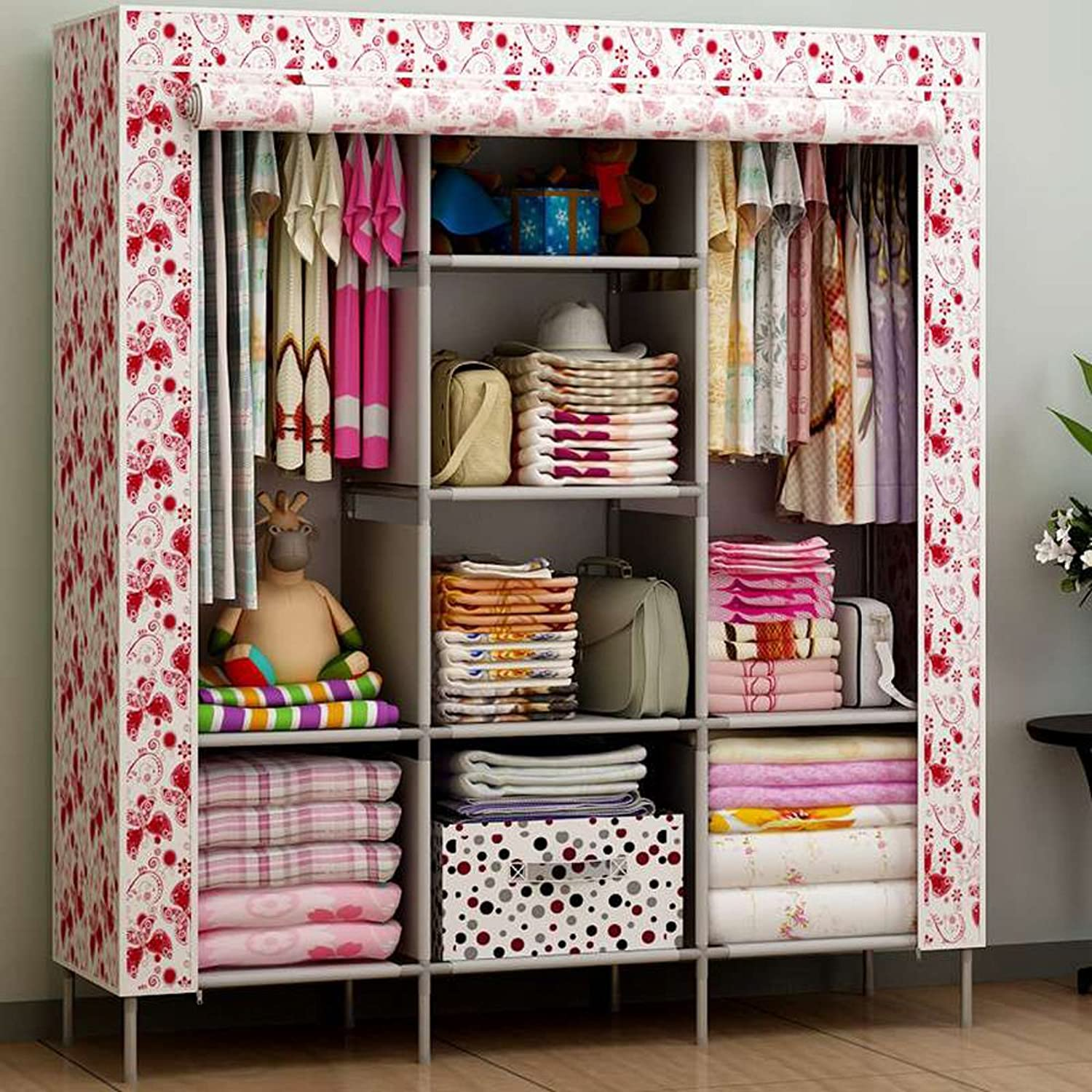 Generic Portable Closet Folding Clothes Wardrobe Bedroom Furniture Armoire Cabinet Hot (Butterflies)