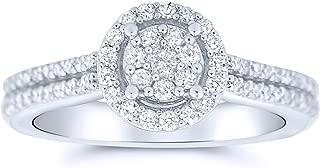 14k White Gold Diamond Engagement Ring .45ctw Split Shoulder and Halo
