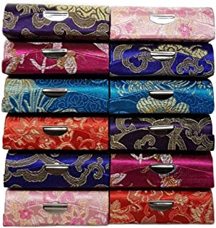 JB Home Collection 4037x12, Set of 12 Silky Satin Fabric Lipstick Case Makeup Box with Mirror