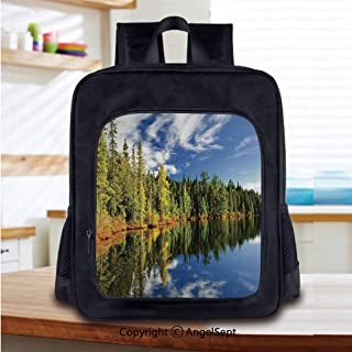 School Backpack Elegant Forest Reflecting on Calm Lake Shore at North Canada Un