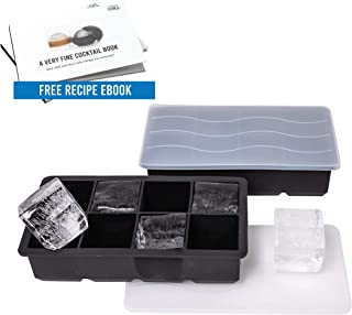 Arctic Chill Silicone Large 2 Inch Ice Cube Trays w Lids, Old Fashioned Whiskey & Bourbon Ice Cubes Keeping Drinks Cold Longer, BPA Free, FDA Approved, Dishwasher Safe, Set of Two