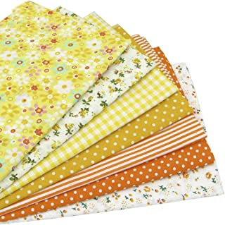 "BYY 7pcs Yellow 19.7"" x 19.7"" Cotton Sewing Fabric Bundles, Pre-Cut Quilt Squares for DIY Crafting Patchwork"