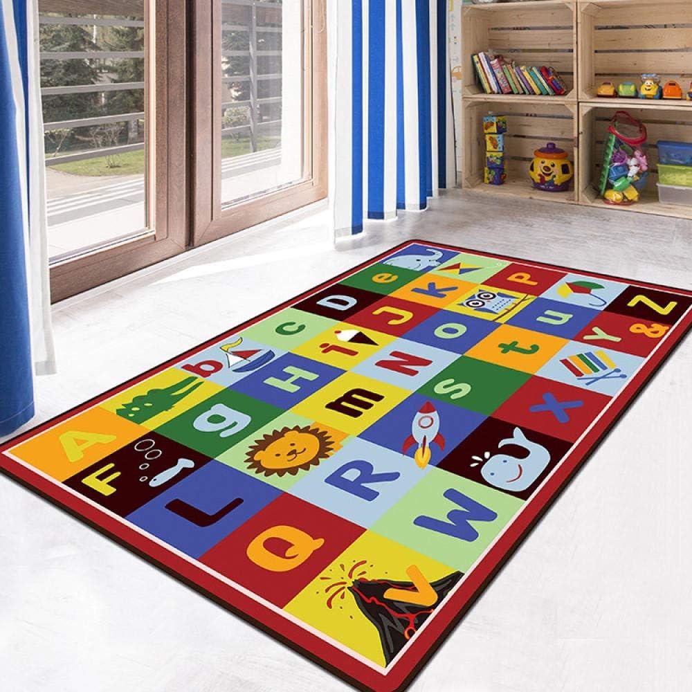 SHACOS Tapis de Chambre Enfant B/éb/é Design Moderne Rose Tapis de Jeu Alphabet Rond /Épaissie Coton Tapis Doux Grand Antid/érapant Tapis D/écor Maison 120cm