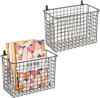 mDesign étagère murale métallique (lot de 2) – grand panier de rangement pour couloir, chambre, etc. – organiseur de lettr...