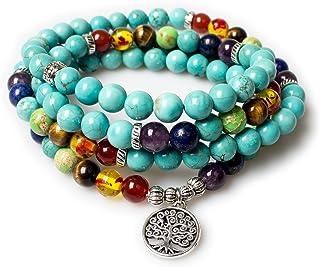 Jewelry,8MM Turquoise Healing 108 Rosary Prayer Mala Beads Tree of Life 7 Chakra Bracelet Necklace